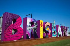 As Brisbane prepares for the Summit, everyone is enjoying this new sign alongside the river at South Bank which has been created by local community groups. Brisbane, Giant Letters, Happy City, Church Stage Design, Photo Window, Soft Flooring, Entrance Sign, Signage Design, Outdoor Signs