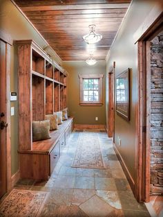 Entry way instead of mudroom...maybe off the side or back of the house.  The wood <3