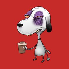 Snoopy before coffee by idrawcartoons