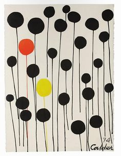 Alexander Calder, Red and Yellow Among Blacks, Calder uses simple shapes to create this abstract composition. The red and yellow circles create a clear focal point and prevent it from being too static. Alexander Calder, Illustration Arte, Modern Art, Contemporary Art, Ecole Art, Blog Deco, Art Moderne, Art Graphique, Kandinsky