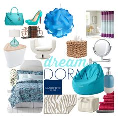 """""""Design Your Dream Dorm with Lands' End: Contest Entry"""" by ellet-imageconsulting ❤ liked on Polyvore featuring interior, interiors, interior design, home, home decor, interior decorating, Lands' End, XLBoom, Surya and Decor Walther"""