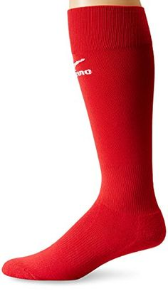 9f288600db Mizuno Performance Sock, Red, Medium Gripper top keeps sock up Ankle support  Y-Heel locks sock in place Arch support Padded footbed