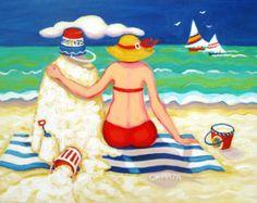 Beach Folk Art Original Painting Woman Red Bikini by korpita