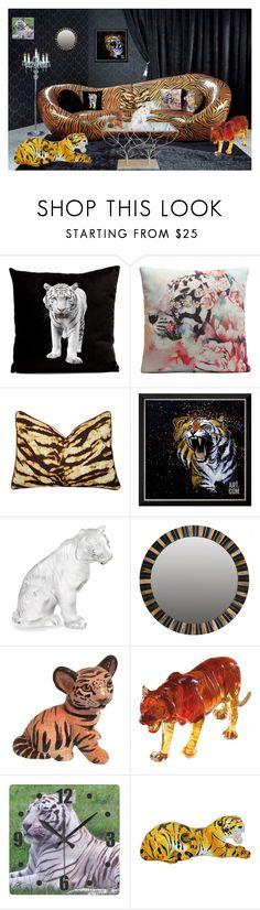 """Tiger Roar"" by molly2853 ❤ liked on Polyvore featuring interior, interiors, interior design, home, home decor, interior decorating, CENA, Artistica, Lalique and Safavieh"