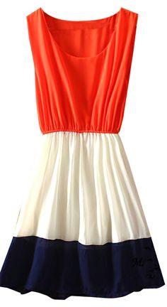 #sheinside Orange White Navy Sleeveless Bandeau Chiffon Dress - Sheinside.com