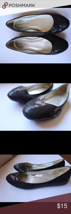 Rampage Black Sparkle Flats Ready for a night out! Wear these sparkly shoes out with any outfit to give it a touch of flair! Doesn't show many signs of wear! Ships 1-2 days! Rampage Shoes Flats & Loafers