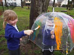 Painting umbrellas - from ABC Does Eyfs Activities, Nursery Activities, Outside Activities, Outdoor Activities, Activities For Kids, Eyfs Outdoor Area, Outdoor Art, Outdoor Painting, Reggio Emilia