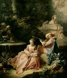 *Rococo Revisited - Francois Boucher - The music Lesson Rococo Painting, Victorian Paintings, French Paintings, European Paintings, Classic Paintings, Beautiful Paintings, Art Paintings, Jean Antoine Watteau, Baroque Art