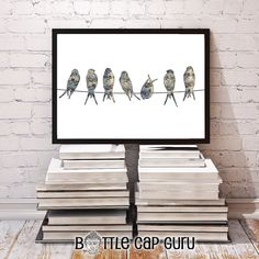 Printable inspirational vintage songbirds poster for home or office decor. Instant download.