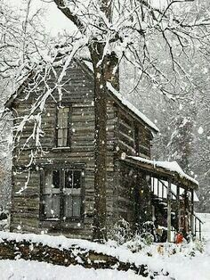 Country snow in the cabin