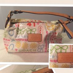 Coach Handbag Multicolor Coach purse. Very cute for your every day essentials. Super Easy to clean as it is a coated canvas. Less on Ⓜ️or️️ Coach Bags Mini Bags