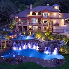 best Ideas for house goals mansions luxury pools Cheap Mansions, Mansions Homes, Luxury Mansions, Big Mansions, Huge Houses, Pool Houses, Crazy Houses, Big Houses With Pools, Amazing Houses