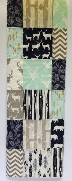 Baby Quilt Boy Navy Mint Gray Grey Rustic Woodland Bedding Crib Modern Patchwork Deer Buck Antlers Feathers Blanket