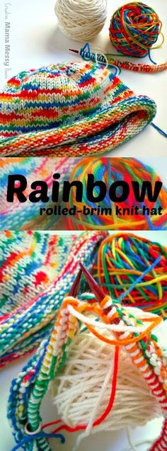 Rainbow rolled-brim knit hat: tutorial. A beginner's knit hat knitted in the round using 2 yarns held together.
