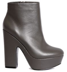 REPORT GREY LEATHER PROST PLATFORM HIGH CHUNKY HEEL ANKLE BOOTS Sz 7 MSRP $130  #REPORT #FashionAnkle