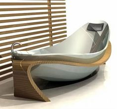 Modernist boat bathtub, interesting clean-lined playfulness for Vineyard house
