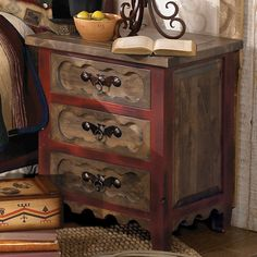 Alder Wood Nightstand ~ Alderwood Western Bedroom Furniture Collection