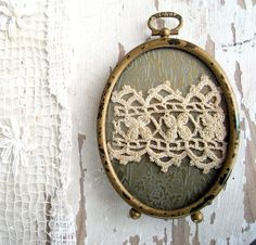 antique frame with lace remnant