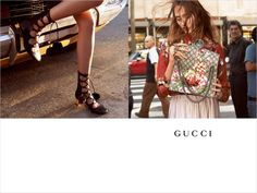 Gucci Fall 2015 advertising campaign features up and coming models Tessa Charlotte Bruinsma and Lia Pavlova. Photographed by Glen Luchford.