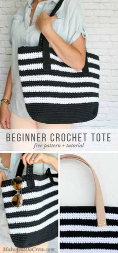 Classic meets modern in this crochet tote bag free pattern. Lion Brand Fast-Track yarn and optional leather handles elevate this easy purse--perfect for the beach, work or just general life. via @makeanddocrew #free #crochet #pattern #bag #tote #easy #lionbrandyarn #fast #leather #yarn #classic