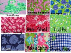 Lilly Pulitzer Line IDs - Fish/ Shell/ Sea Life Prints