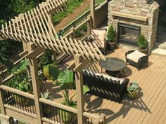 Corner pergola, make a double sided fireplace on our existing retainer wall! Corner Pergola, Deck With Pergola, Outdoor Pergola, Backyard Pergola, Backyard Landscaping, Pergola Kits, Landscaping Ideas, Backyard Patio Designs, Pergola Designs