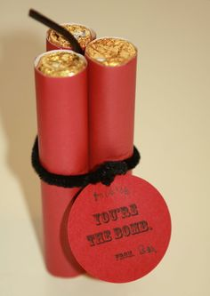 Rolos with red construction paper and pipe cleaner = dynamite!