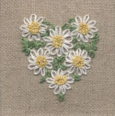 Wonderful Ribbon Embroidery Flowers by Hand Ideas. Enchanting Ribbon Embroidery Flowers by Hand Ideas. Embroidery Hearts, Simple Embroidery, Silk Ribbon Embroidery, Hand Embroidery Designs, Embroidery Applique, Cross Stitch Embroidery, Embroidery Patterns, Flower Embroidery, Embroidery Thread