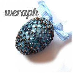 Koraliki tudzież: dziesiąte jajko - niebieskie z brązowym