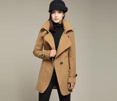 $38.99  Oblique Buckles Slim Cut Tan Coat#group buying#whatabeautifullife.com