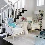 Style at Home - living rooms - Benjamin Moore - Pure White - rug, table, lamp, fireplace, coffee table via bravura-interiors.com, resin side table and chairs, cabinet and lamp and cushions and throw and tray via thecrossdesign.com, rug via eastindiacarpets.com, gray, blue, living room,