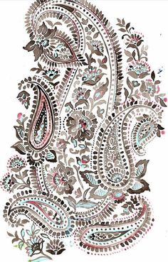 Hand-Painted Sketches from Natalia Gemma Design. Motif Paisley, Paisley Art, Paisley Design, Paisley Pattern, Pattern Art, Design Textile, Art Textile, Textile Patterns, Textile Prints