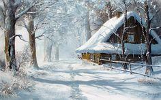Winter Szenen, Winter Cabin, Watercolor Landscape, Landscape Paintings, Watercolor Art, Painting Snow, Winter Painting, Snow Scenes, Christmas Paintings