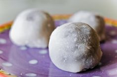 Mochi! Soft on the outside, chewy on the inside. Usually filled with red bean paste, but can be added with fruit for a healthy treat.