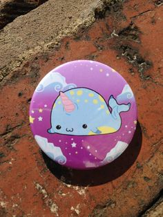 Kawaii Narwhal 36mm button badge in pastel goth style lolita colours, cute, sweet, happy Narwhal
