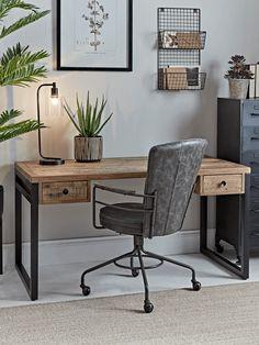 Loft Desk - Home Office - Decorative Home - Indoor Living Mesa Home Office, Home Office Setup, Home Office Space, Home Office Desks, Office Decor, Office Style, Cool Office Desk, Home Office Table, Ikea Office