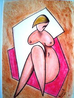 Sitting nude, 38x27, pastel, cardboard, 2001, artist Štefan Pavluvčík.