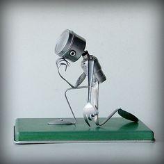 robot recycled art sculpture