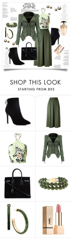 """Dress To Shine"" by helenaymangual ❤ liked on Polyvore featuring Charles David, Alexander McQueen, Miss Selfridge, Yves Saint Laurent, Michael Kors and Prada"