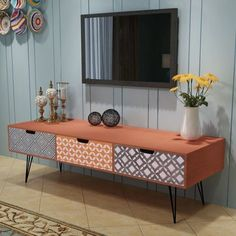 Contemporary Living Room TV Unit - TV Stand Cabinet Drawers Brown Storage Modern Side End Table Display Furniture. Tv Stand Sideboard, Tv Stand Cabinet, Retro Sideboard, Cabinet Drawers, Storage Drawers, Console Table, Media Cabinet, Cabinet Storage, Sideboard Table