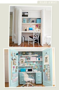 Closet Offices #closet #small #space #office #craft #supplies #diy #spaces #hide #hideaway #hidden #idea #painted #blue #desk #bulletin #message #center #control #controlcenter