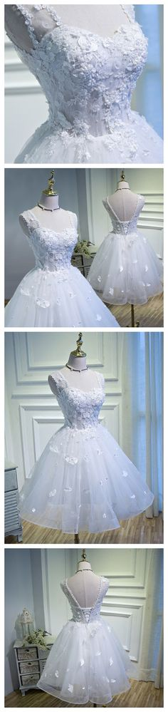 f63160a0a191b 2017 Chic Homecoming Dress Deep Straps White Tulle Short Prom Dress AM041