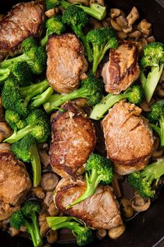 Pork Medallions with Broccoli (One Pan Meal) - Easy Peasy Meals One Pan Meals, Main Meals, Pork Recipes, Cooking Recipes, Pork Meals, Pork Tenderloin Medallions, Pork Mushroom, Meal Planning App, How To Cook Pork