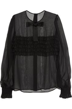 lace-ruffled silk blend blouse . •Black sheer silk-blend •Neck bow, pleated shoulders, lace-ruffled front and cuffs  •Button fastenings through back •85% silk, 14% cotton, 1% polyamide