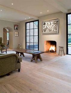 Corvelyn - Realisaties - Jachtopzienerswoning  fireplace + floors + windows