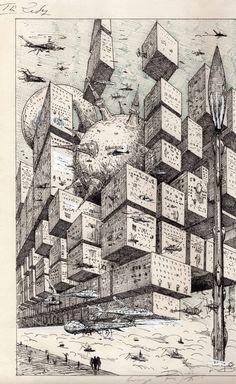 The City - Ian Miller, in Paul Lizotte's Ian Miller Comic Art Gallery Room Street Art, Arte Alien, Images Esthétiques, Perspective Art, Environment Concept Art, Pen Art, Sci Fi Art, Art Plastique, Surreal Art