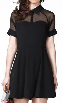 b1c49e6fd112 Short Sleeve Sheer Detail Dress Cute! But too short Lil Black Dress, Types  Of