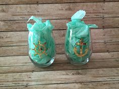 Gold Foil Nautical Wine Glasses  Stemless by MoosesCreations