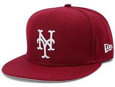 Custom New York Mets Basic Cardinal 59Fifty Fitted Baseball Cap by NEW ERA x MLB