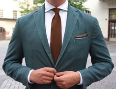 The jacket is wool and from Boglioli, shirt from SuitSupply, knit tie from Atelier F&B Geneve, belt from Equus Leather, trousers (par… Sunday Outfits, Knit Tie, Men's Grooming, Outfit Posts, Green And Brown, Suit Jacket, Menswear, Beige, Blazer